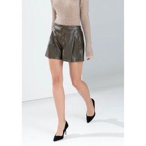 Zara Basic Faux Leather Embossed Olive Shorts